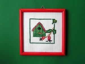 obrázok s výšivkou v drevenom ráme, farebný rám, od 2,60 do 6,30 € 2