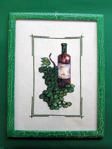 obrázok s výšivkou v drevenom ráme, rám upravený krakerovaním, od 2,60 do 6,30 € 4