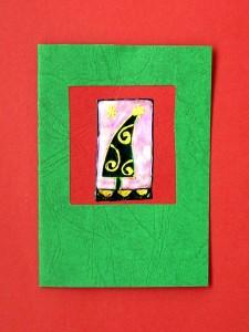 vianočný pozdrav s obálkou, window technika, 1,10 €, bez obálky 1 €,